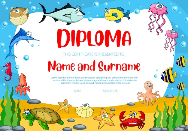 Kids education diploma template with puffer fish, crab and turtle.