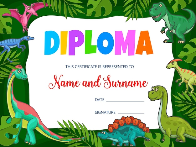 Kids education diploma with cartoon dinosaurs and jurassic dragons, vector. school certificate award or diploma with t-rex dino or tyrannosaurus, pterodactyl and brontosaurus lizard in jungle