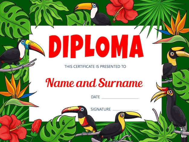 Kids education diploma with cartoon toucan birds and jungle background frame border. student diploma, certificate, award and honor gift with tropical exotic toucanets, palm leaves and flowers Premium Vector