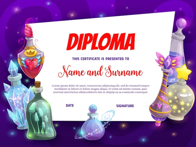 Kids education diploma with magic potions. child school contest winning award, children achievement diploma vector template with cartoon elixirs bottles, love, death and freeze magic spells potions