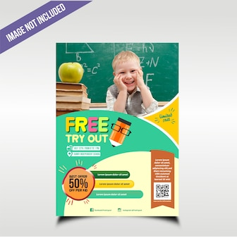 Kids education flyer with fun color