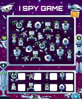Kids education game with robots, vector i spy riddle with cyborgs, how many androids and drones test. development of numeracy skills and attention, cartoon mathematics worksheet page for children
