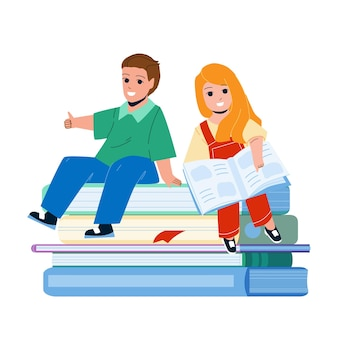 Kids education in kindergarten classroom vector. preteen boy and girl reading books on kids education lesson. characters little pupils learning together, preparing for school flat cartoon illustration