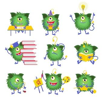 Детское образование. персонаж-монстр с книжной иллюстрацией. монстр читает книгу и счастливый монстр с одним глазом