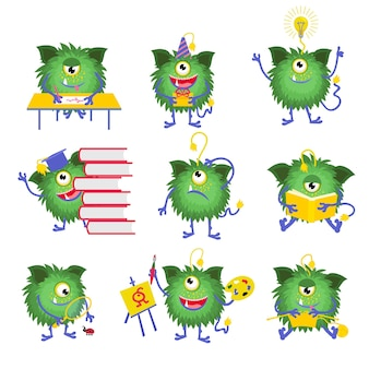 Kids education. monster character with book illustration. monster read book and happy monster with one eye
