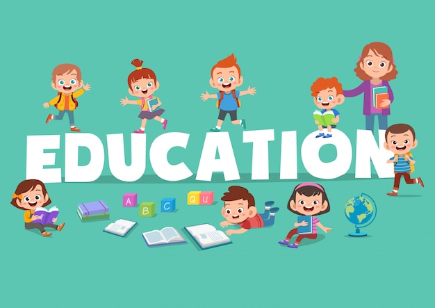 Kids education poster illustration
