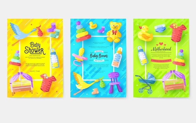 Kids elements template of flyer illustration