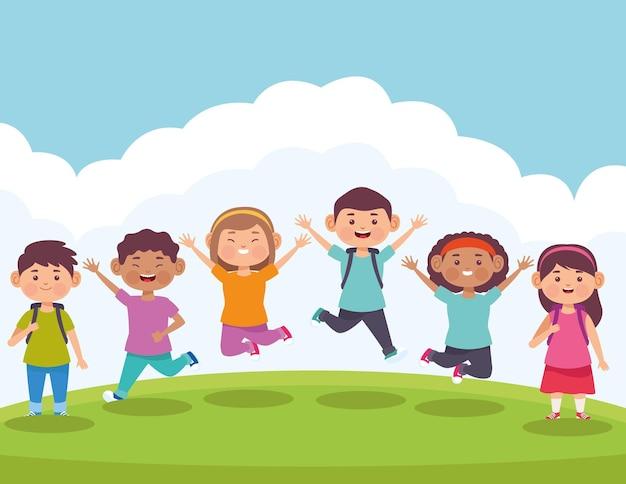 Дети наслаждаются в лагере иллюстрации