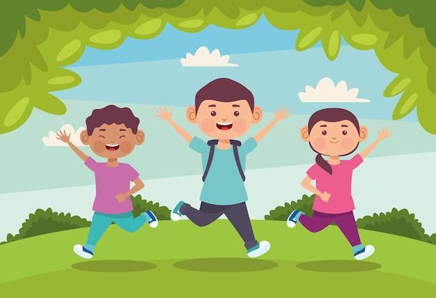 Дети наслаждаются в поле иллюстрации