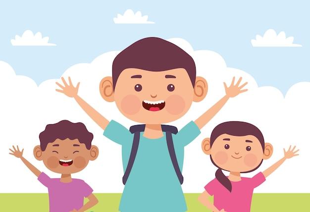 Дети наслаждаются в саду иллюстрации