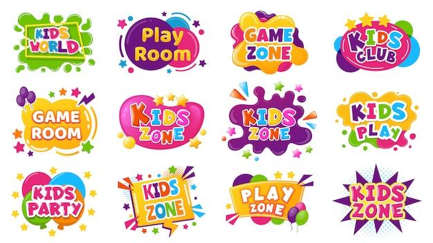 Детские развлекательные значки. игровая комната вечеринка этикетки, детский образовательный и развлекательный клуб элементы. детские игровые зоны иллюстрации набор. игровая зона, детская и детская игровая зона