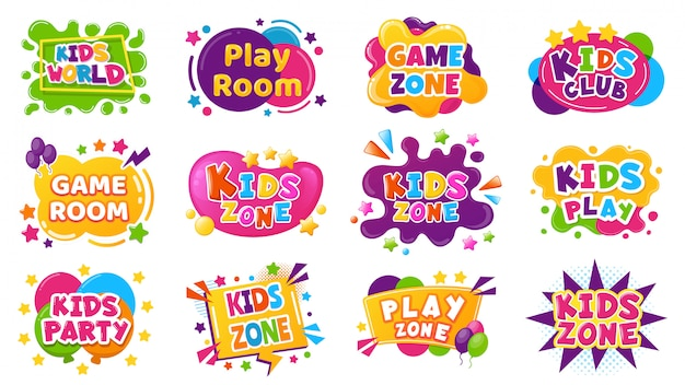 Kids entertainment badges. game room party labels, children education and entertainment club elements. baby playing zone  illustration set. playroom area, child and kids zone for game