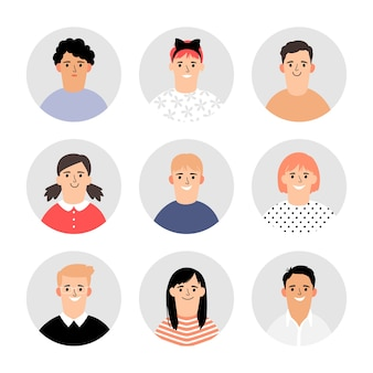 子供たちはアバターに直面します。ベクトルの子供たちの顔のアイコン、シンプルなプロフィールイラストの肖像画のコレクション、サークルの学校の生徒やインフォグラフィックの学生のキャラクター