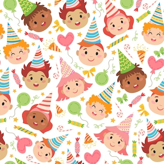 Kids faces with birthday caps pattern