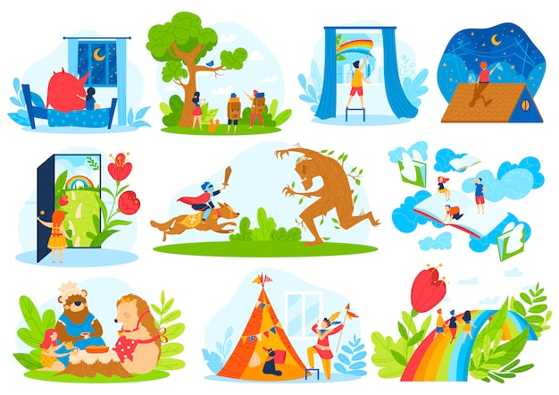 Kids fairy tale imagination vector illustration set
