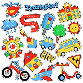 Детские модные значки, нашивки, наклейки в теме городского транспорта в стиле комиксов с велосипедами, автомобилями и автобусами. ретро фон