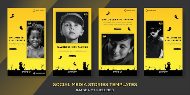 Kids fashion banner template for halloween sale stories post.