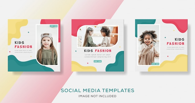 Kids fashion sale banner remplate full color premium