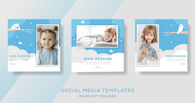 Kids fashion sale banner template for media social post. premium