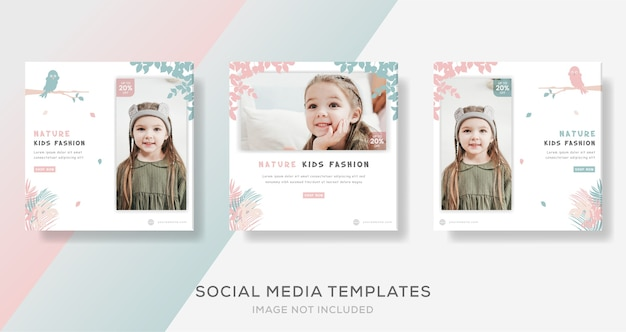 Kids fashion sale banner template for nature.