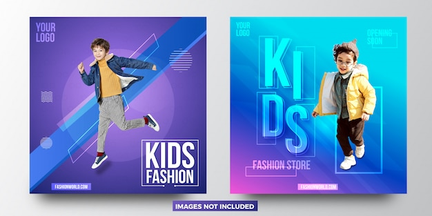 Kids fashion sale banner templates design