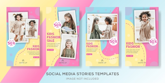 Kids fashion social media stories template