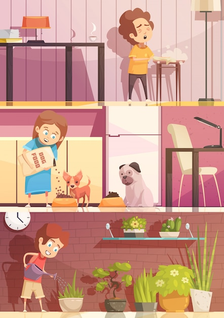 Kids feeding pets watering plants and cleaning rooms 3 horizontal retro cartoon banners set isolated