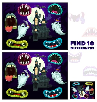 Kids find differences game with halloween cartoon monsters maws. children playing activity, exercise or riddle worksheet with compare and finding details task. creepy creatures mouth, old house ghosts