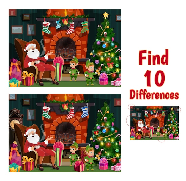 Kids find ten differences game with santa and elfs