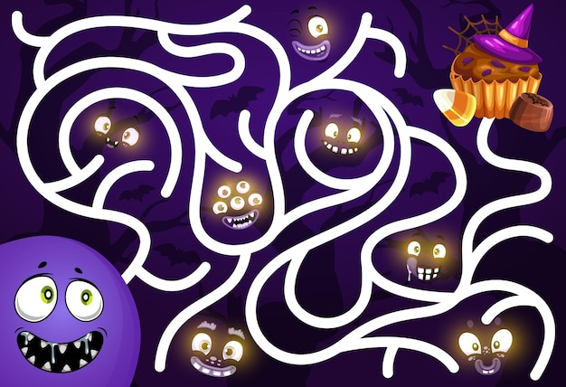 Kids find way game with halloween monsters smiling faces and sweets. children search path playing activity, labyrinth with cartoon vector glowing in darkness creepy creature eyes, muffin and candy