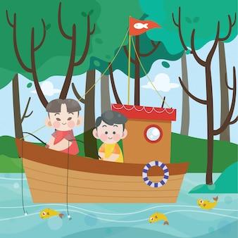 Kids fishing in the boat vector illustration