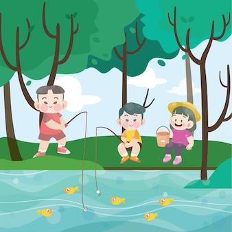 Kids fishing together vector illustration