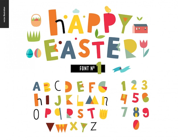 Kids flat alphabet set. happy easter