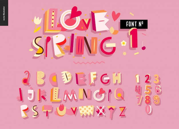 Kids flat alphabet set. love spring