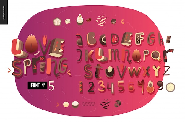 Kids flat alphabet set love spring