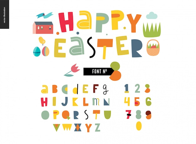 Kids flat easter alphabet set