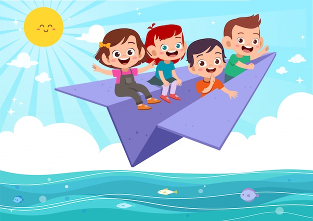 Kids fly paper plane