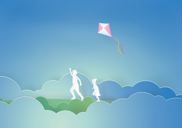 Kids flying a kite