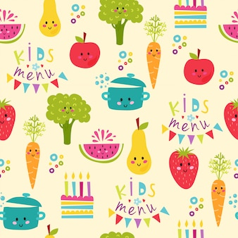 Kids food menu seamless pattern