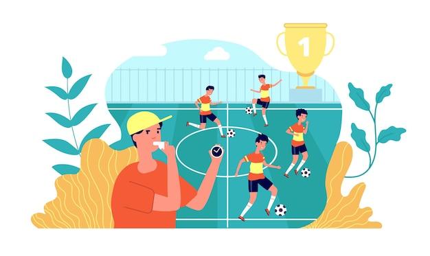 キッズサッカー。サッカー遊びの学習。夏のスポーツキャンプ、フィールドで遊ぶキッズチーム