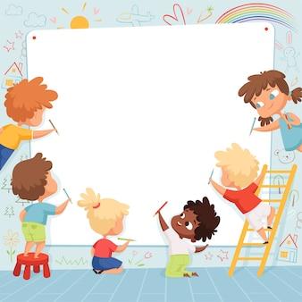 Детская рамка. симпатичные персонажи детские рисуют рисунок и играют в пустое место для текстового шаблона. дети, опираясь на белый баннер, персонажи дошкольного художника иллюстрации