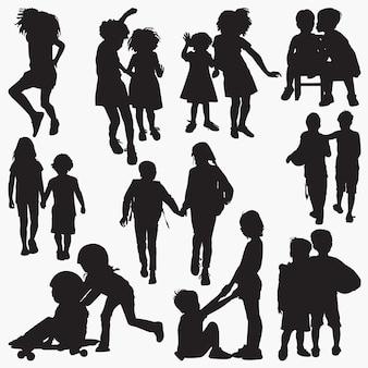 Kids friendship silhouettes