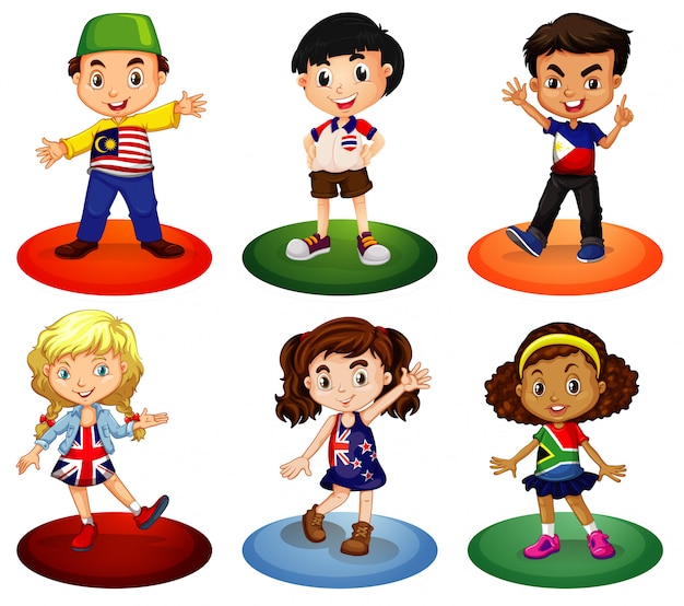 Kids from different countries of the world