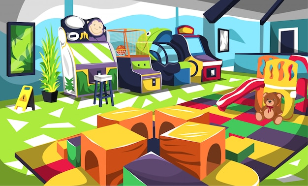 Kids fun playground with arcade game machine, slides and colorful box