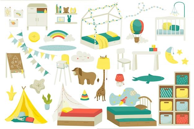 ベビールームやプレイルームの子供用家具、イラストのセット。おもちゃ、子供のベッド、テーブル、椅子、ランプ、装飾が施された保育園のインテリア。子供のための屋内家庭用家具。
