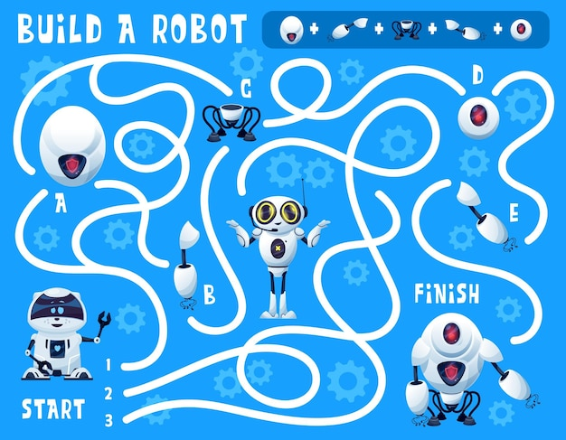 Kids game build a robot maze with cartoon artificial intelligence bots and spare parts. vector education puzzle, find right way game or riddle on background with gears and androids