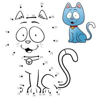 Kids game dot to dot cat