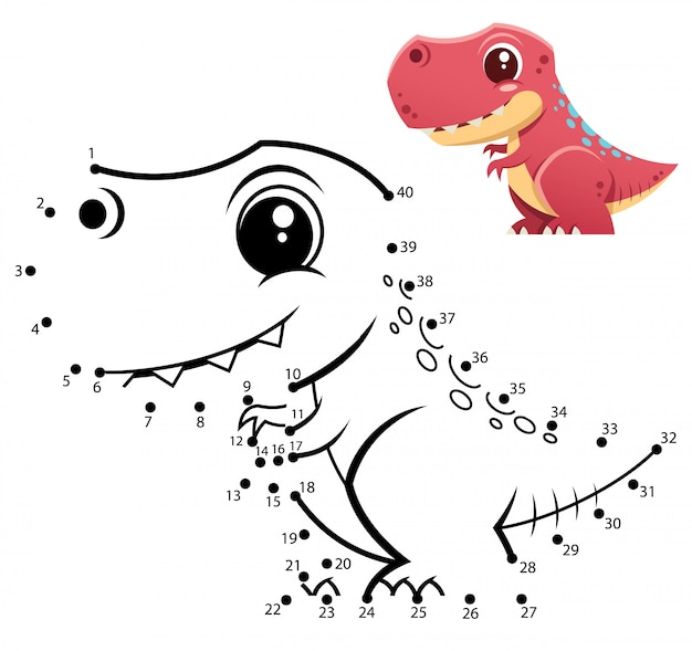 Kids game dot to dot dinosaur