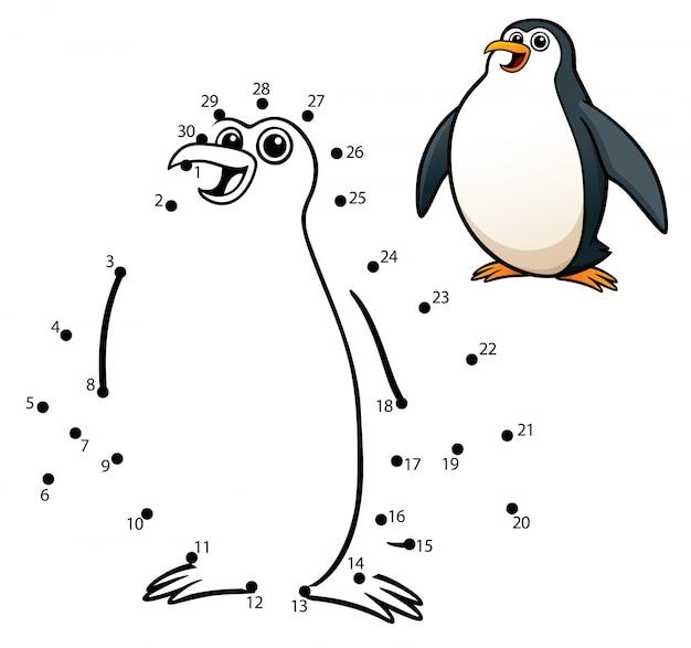 Kids game dot to dot penguin