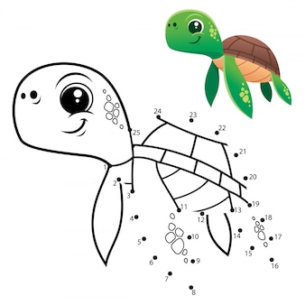 Kids game dot to dot turtle
